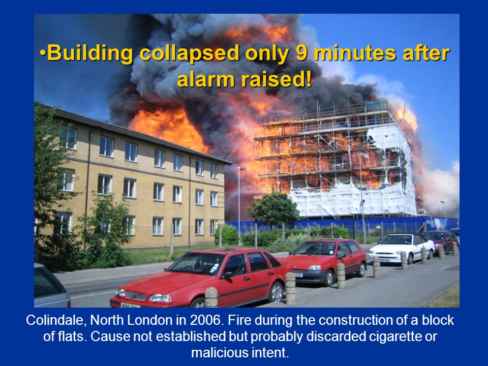 Colindale, North London in 2006. Fire during the construction of a block of flats.