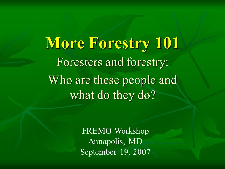 More Forestry 101 Foresters and forestry: Who are these people and what do they do? FREMO Workshop Annapolis, MD September 19, 2007