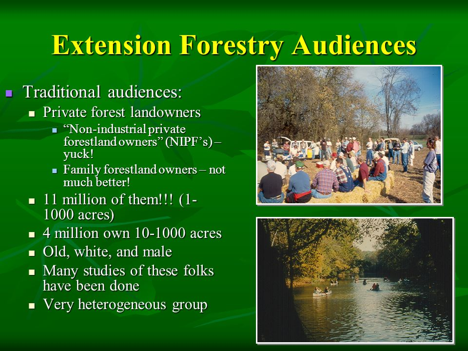 """Extension Forestry Audiences Traditional audiences: Traditional audiences: Private forest landowners Private forest landowners """"Non-industrial private"""
