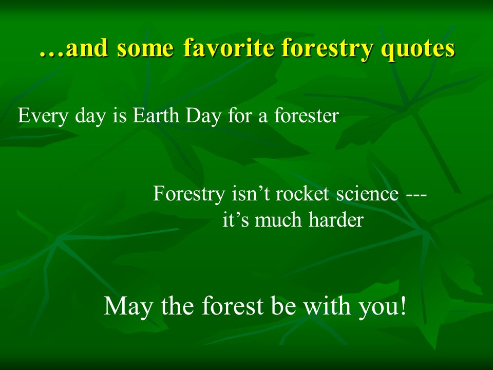 …and some favorite forestry quotes Every day is Earth Day for a forester May the forest be with you.