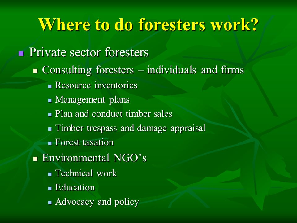 When you consider the range and complexity of forest resource issues, there are many other very important audiences who affect, and are affected by forests: State and local elected and appointed officials who are responsible for planning State and local elected and appointed officials who are responsible for planning Land developers Land developers Policy makers Policy makers Urban forest stakeholders Urban forest stakeholders Accountants Accountants Realtors Realtors