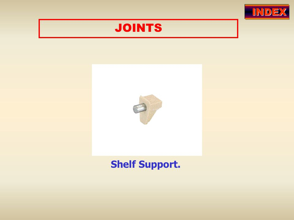 JOINTS Shelf Support. INDEX