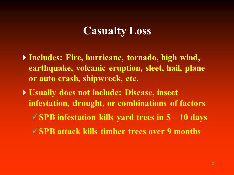 8 Casualty Loss  Includes: Fire, hurricane, tornado, high wind, earthquake, volcanic eruption, sleet, hail, plane or auto crash, shipwreck, etc.  Us