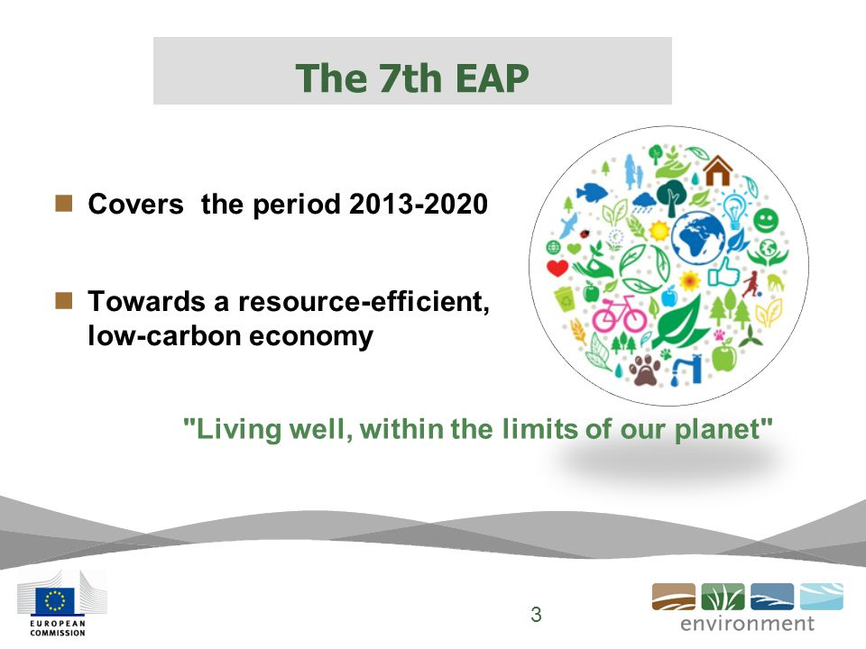2020 timeframe, 2050 vision, 9 priority objectives Commitment by EU and its Member States 3 Thematic priority objectives:  Protecting nature and strengthening ecological resilience  Boosting sustainable, resource-efficient, low- carbon growth, and  Effectively addressing environment-related threats to health.