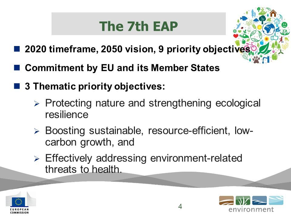 2020 timeframe, 2050 vision, 9 priority objectives Commitment by EU and its Member States 3 Thematic priority objectives:  Protecting nature and strengthening ecological resilience  Boosting sustainable, resource-efficient, low- carbon growth, and  Effectively addressing environment-related threats to health.