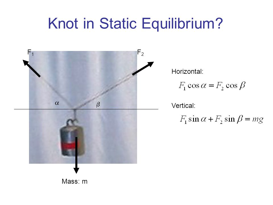 Knot in Static Equilibrium? Mass: m   F1F1 F2F2 Horizontal: Vertical: