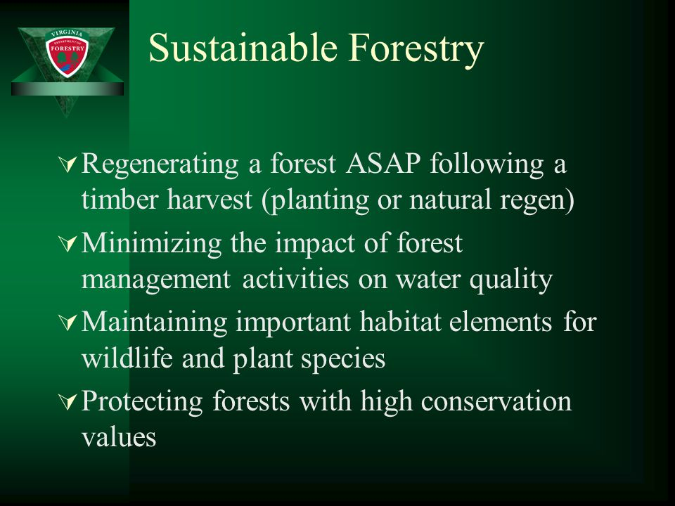 Sustainable Forestry  Regenerating a forest ASAP following a timber harvest (planting or natural regen)  Minimizing the impact of forest management activities on water quality  Maintaining important habitat elements for wildlife and plant species  Protecting forests with high conservation values