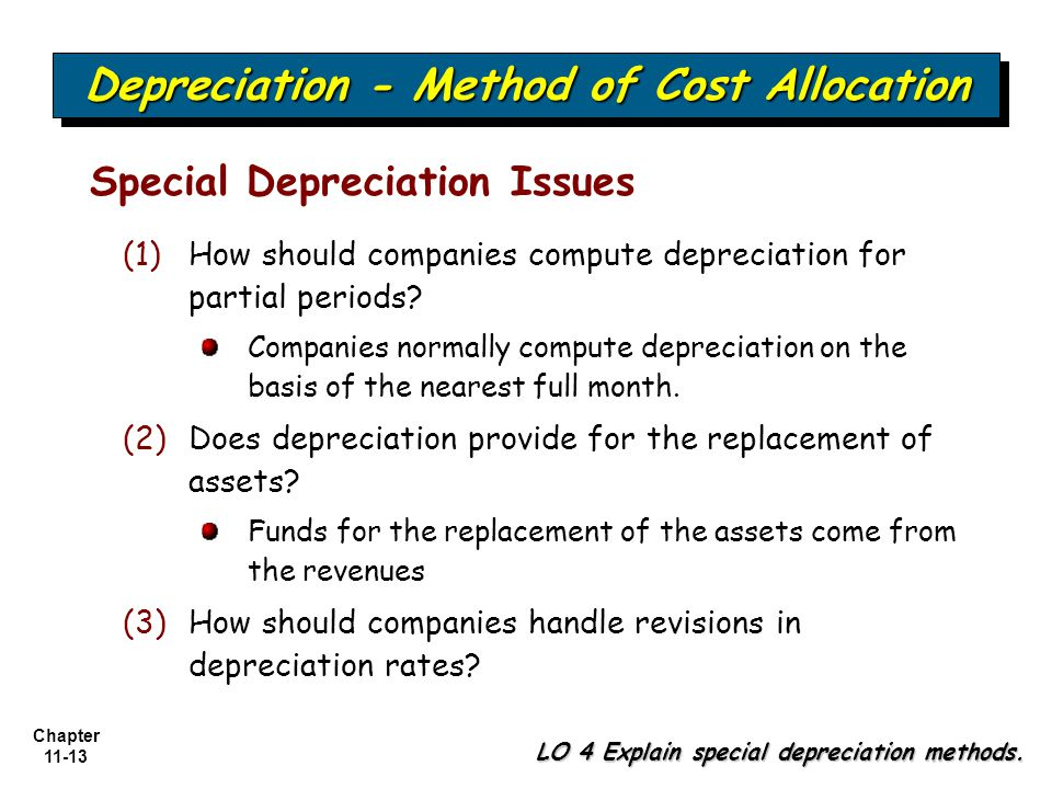Chapter 11-13 Depreciation - Method of Cost Allocation LO 4 Explain special depreciation methods. Special Depreciation Issues (1) (1)How should compan