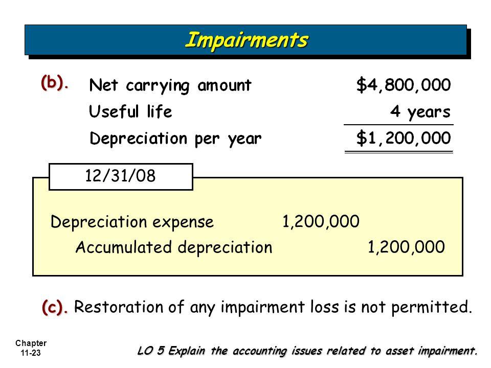 Chapter 11-23 Depreciation expense 1,200,000 Accumulated depreciation 1,200,000 ImpairmentsImpairments (b). (c). (c). Restoration of any impairment lo