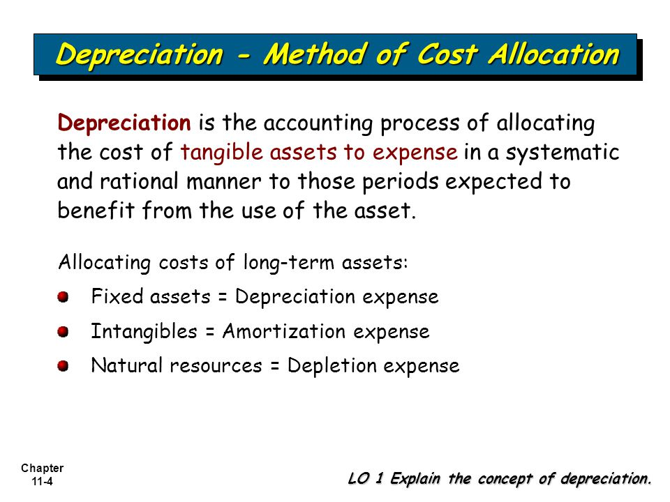 Chapter 11-5 Depreciation - Method of Cost Allocation LO 2 Identify the factors involved in the depreciation process.