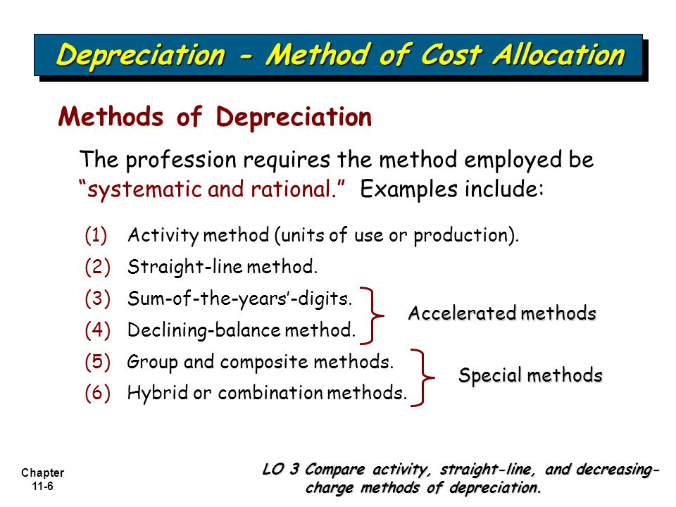 Chapter 11-7 Depreciation - Method of Cost Allocation LO 3 Compare activity, straight-line, and decreasing- charge methods of depreciation.