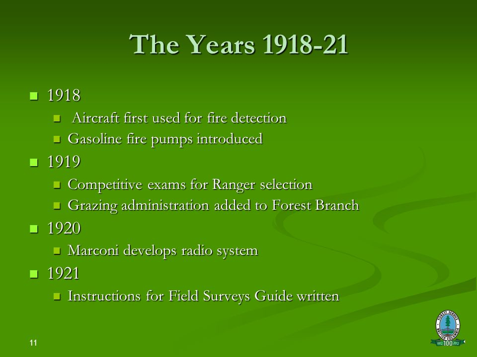11 The Years 1918-21 1918 1918 Aircraft first used for fire detection Aircraft first used for fire detection Gasoline fire pumps introduced Gasoline fire pumps introduced 1919 1919 Competitive exams for Ranger selection Competitive exams for Ranger selection Grazing administration added to Forest Branch Grazing administration added to Forest Branch 1920 1920 Marconi develops radio system Marconi develops radio system 1921 1921 Instructions for Field Surveys Guide written Instructions for Field Surveys Guide written