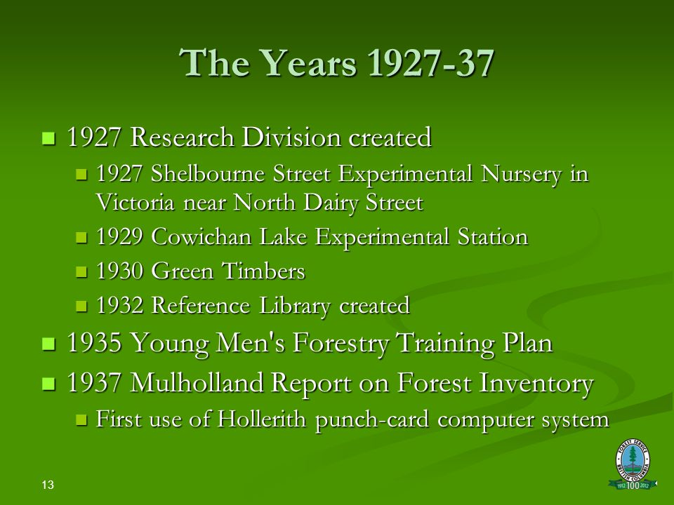 13 The Years 1927-37 1927 Research Division created 1927 Research Division created 1927 Shelbourne Street Experimental Nursery in Victoria near North Dairy Street 1927 Shelbourne Street Experimental Nursery in Victoria near North Dairy Street 1929 Cowichan Lake Experimental Station 1929 Cowichan Lake Experimental Station 1930 Green Timbers 1930 Green Timbers 1932 Reference Library created 1932 Reference Library created 1935 Young Men s Forestry Training Plan 1935 Young Men s Forestry Training Plan 1937 Mulholland Report on Forest Inventory 1937 Mulholland Report on Forest Inventory First use of Hollerith punch-card computer system First use of Hollerith punch-card computer system