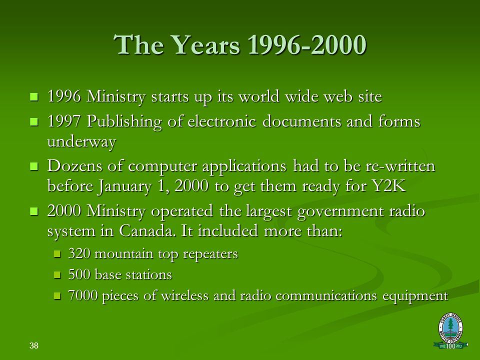 38 The Years 1996-2000 1996 Ministry starts up its world wide web site 1996 Ministry starts up its world wide web site 1997 Publishing of electronic documents and forms underway 1997 Publishing of electronic documents and forms underway Dozens of computer applications had to be re-written before January 1, 2000 to get them ready for Y2K Dozens of computer applications had to be re-written before January 1, 2000 to get them ready for Y2K 2000 Ministry operated the largest government radio system in Canada.