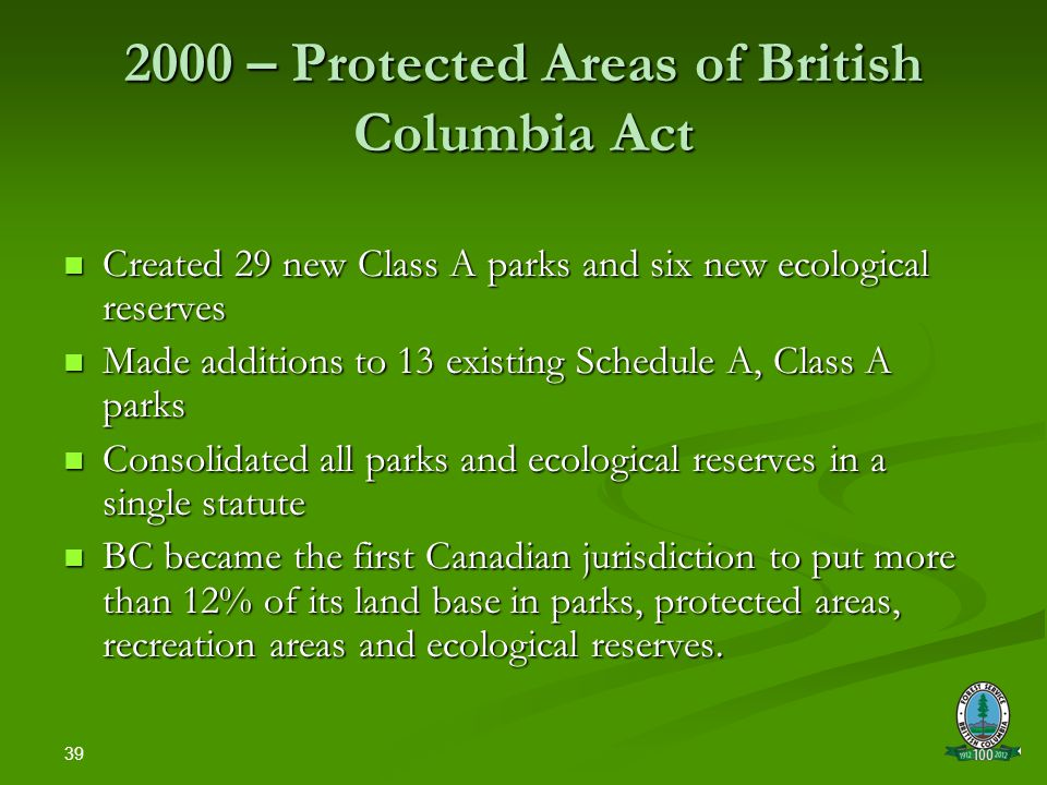 39 2000 – Protected Areas of British Columbia Act Created 29 new Class A parks and six new ecological reserves Created 29 new Class A parks and six new ecological reserves Made additions to 13 existing Schedule A, Class A parks Made additions to 13 existing Schedule A, Class A parks Consolidated all parks and ecological reserves in a single statute Consolidated all parks and ecological reserves in a single statute BC became the first Canadian jurisdiction to put more than 12% of its land base in parks, protected areas, recreation areas and ecological reserves.