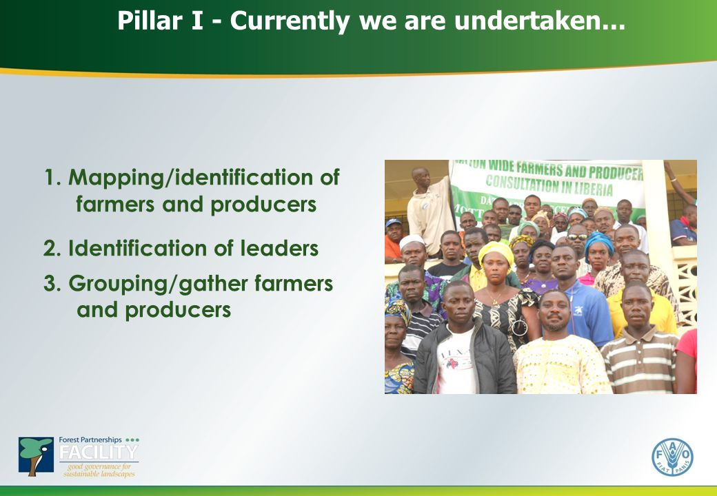 Pillar I - Currently we are undertaken... 1. Mapping/identification of farmers and producers 2.