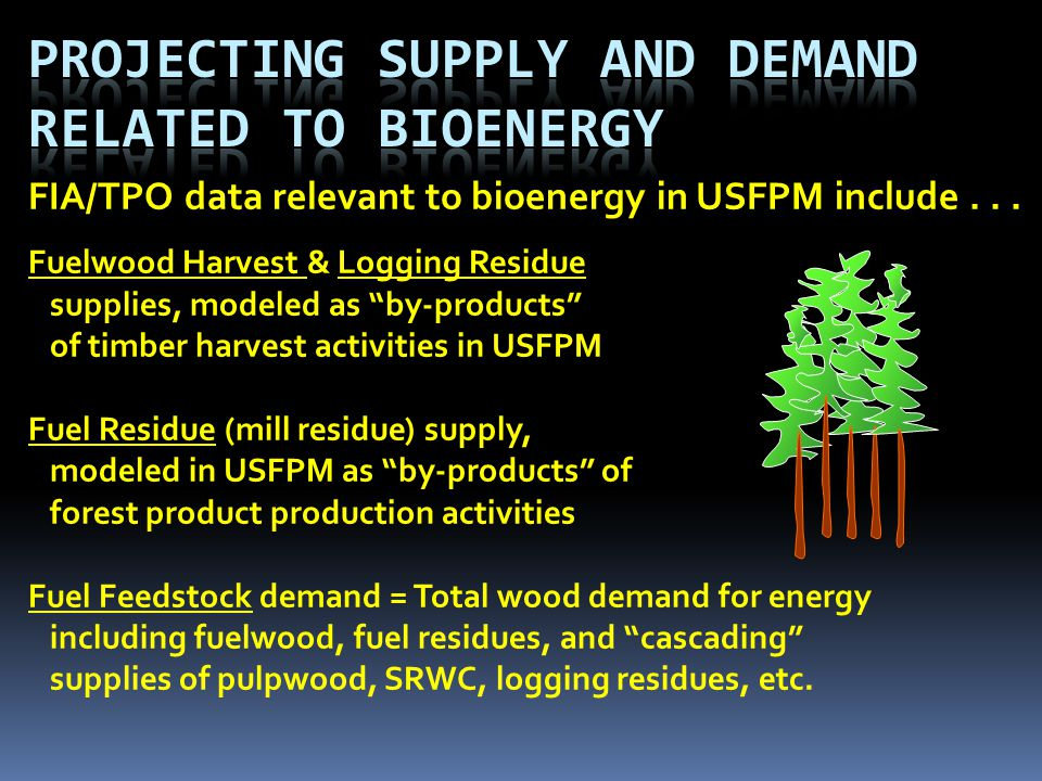 FIA/TPO data relevant to bioenergy in USFPM include...