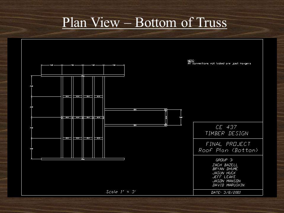 Major Horizontal Members - 4 x 8 ridge beam at 16 feet long - 4 x 6 fascia beams at 16 feet long - 4 x 4 for truss rafters, chords - 2 x 8 girts and j