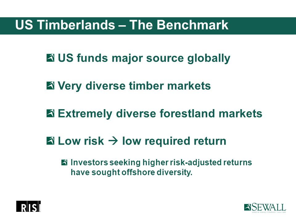 US Timberlands – The Benchmark US funds major source globally Very diverse timber markets Extremely diverse forestland markets Low risk  low required return Investors seeking higher risk-adjusted returns have sought offshore diversity.