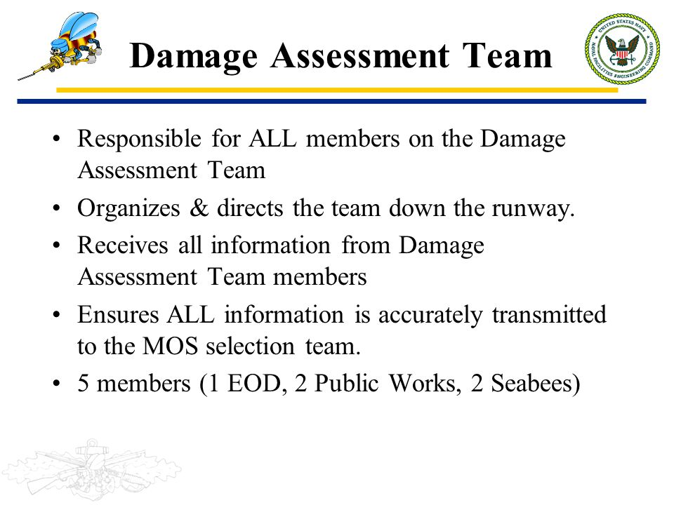 Damage Assessment Team Responsible for ALL members on the Damage Assessment Team Organizes & directs the team down the runway. Receives all informatio