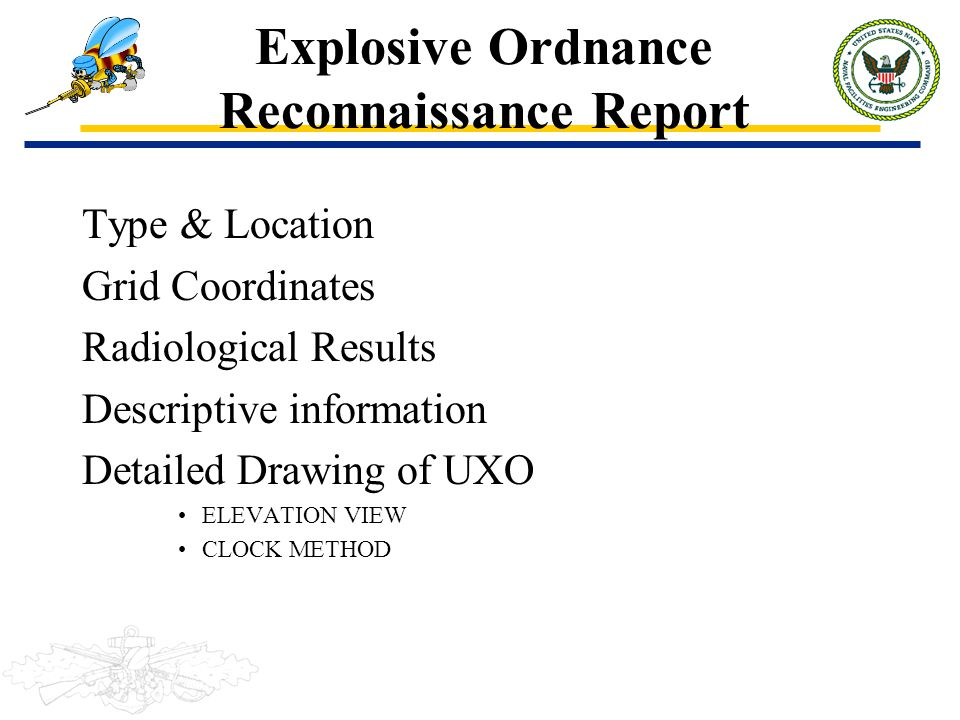 Explosive Ordnance Reconnaissance Report Type & Location Grid Coordinates Radiological Results Descriptive information Detailed Drawing of UXO ELEVATI