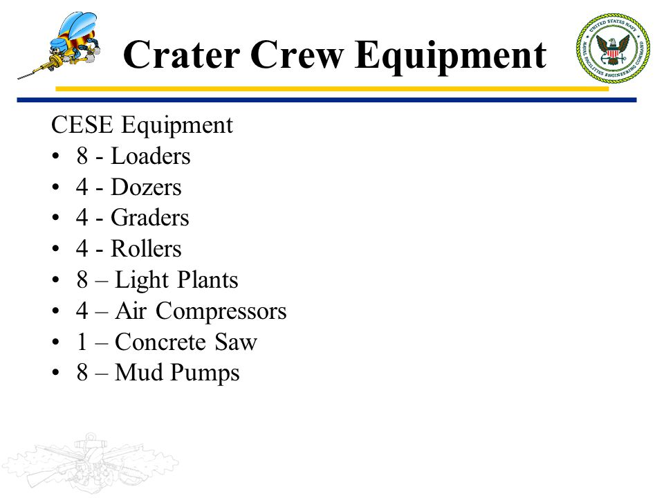 Crater Crew Equipment CESE Equipment 8 - Loaders 4 - Dozers 4 - Graders 4 - Rollers 8 – Light Plants 4 – Air Compressors 1 – Concrete Saw 8 – Mud Pump
