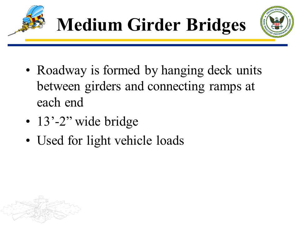 "Medium Girder Bridges Roadway is formed by hanging deck units between girders and connecting ramps at each end 13'-2"" wide bridge Used for light vehic"