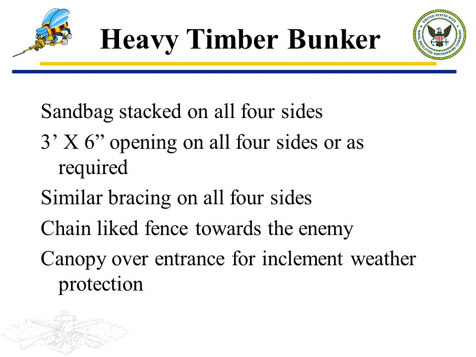"Heavy Timber Bunker Sandbag stacked on all four sides 3' X 6"" opening on all four sides or as required Similar bracing on all four sides Chain liked f"