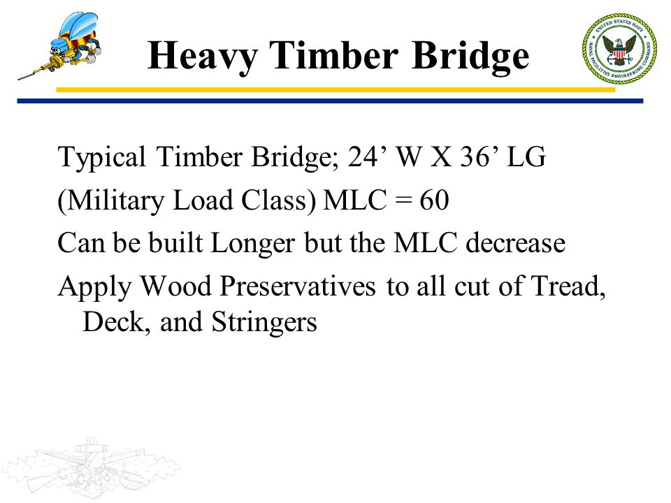 Typical Timber Bridge; 24' W X 36' LG (Military Load Class) MLC = 60 Can be built Longer but the MLC decrease Apply Wood Preservatives to all cut of T