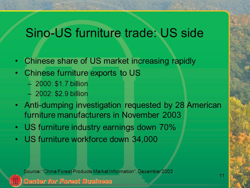 11 Source: China Forest Products Market Information , December 2003 Sino-US furniture trade: US side Chinese share of US market increasing rapidly Chinese furniture exports to US –2000: $1.7 billion –2002: $2.9 billion Anti-dumping investigation requested by 28 American furniture manufacturers in November 2003 US furniture industry earnings down 70% US furniture workforce down 34,000