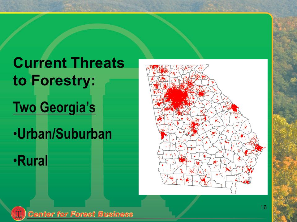 16 Current Threats to Forestry: Two Georgia's Urban/Suburban Rural