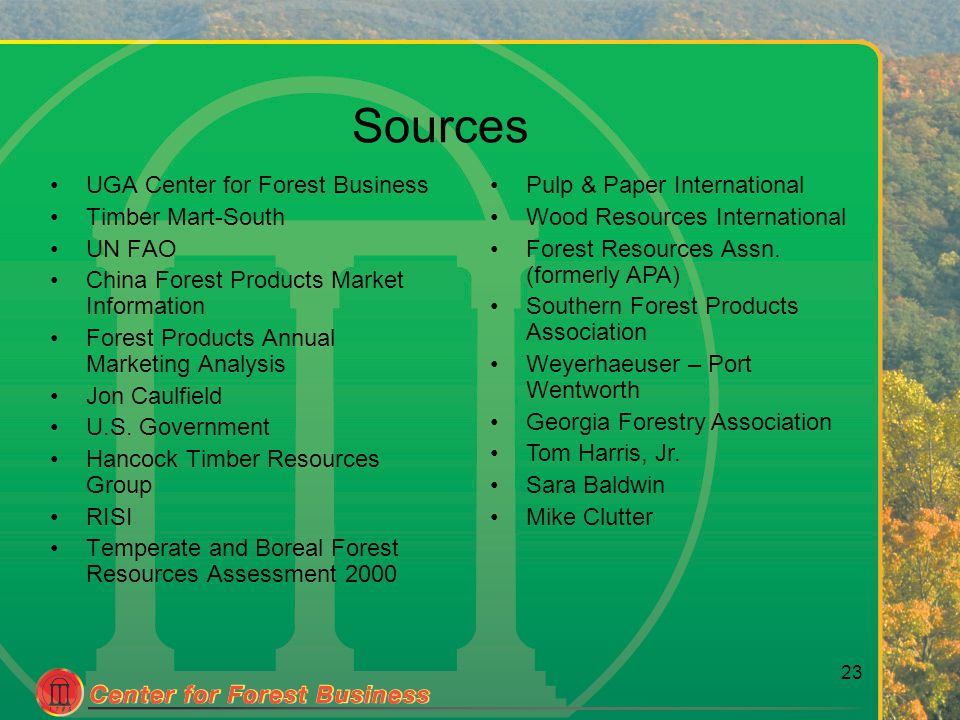 23 Sources UGA Center for Forest Business Timber Mart-South UN FAO China Forest Products Market Information Forest Products Annual Marketing Analysis Jon Caulfield U.S.