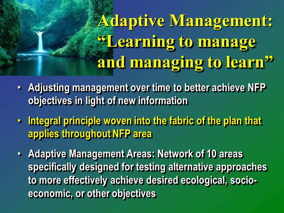 Adjusting management over time to better achieve NFP objectives in light of new information Adjusting management over time to better achieve NFP objectives in light of new information Integral principle woven into the fabric of the plan that applies throughout NFP area Integral principle woven into the fabric of the plan that applies throughout NFP area Adaptive Management Areas: Network of 10 areas specifically designed for testing alternative approaches to more effectively achieve desired ecological, socio- economic, or other objectives Adaptive Management Areas: Network of 10 areas specifically designed for testing alternative approaches to more effectively achieve desired ecological, socio- economic, or other objectives Adjusting management over time to better achieve NFP objectives in light of new information Adjusting management over time to better achieve NFP objectives in light of new information Integral principle woven into the fabric of the plan that applies throughout NFP area Integral principle woven into the fabric of the plan that applies throughout NFP area Adaptive Management Areas: Network of 10 areas specifically designed for testing alternative approaches to more effectively achieve desired ecological, socio- economic, or other objectives Adaptive Management Areas: Network of 10 areas specifically designed for testing alternative approaches to more effectively achieve desired ecological, socio- economic, or other objectives Learning to manage and managing to learn Adaptive Management: Learning to manage and managing to learn