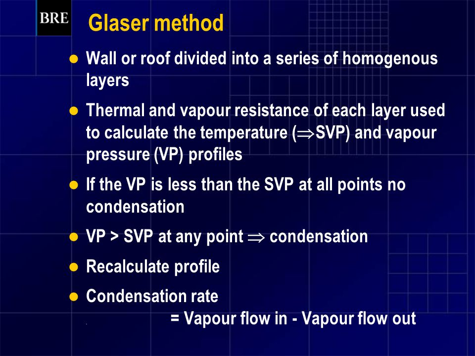 Glaser method Wall or roof divided into a series of homogenous layers Thermal and vapour resistance of each layer used to calculate the temperature (