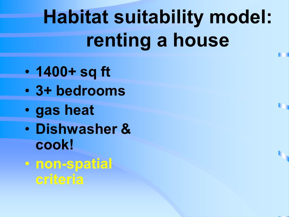 Habitat suitability model: renting a house 1400+ sq ft 3+ bedrooms gas heat Dishwasher & cook.