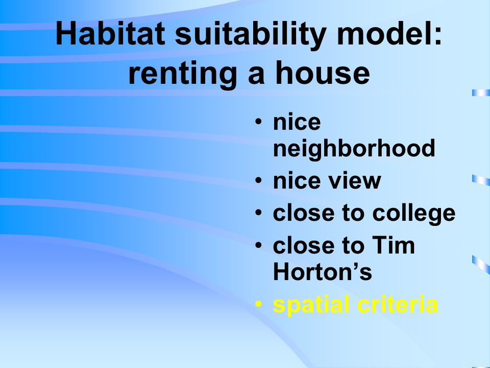 Habitat suitability model: renting a house nice neighborhood nice view close to college close to Tim Horton's spatial criteria