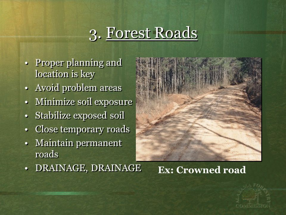 3. Forest Roads Proper planning and location is key Avoid problem areas Minimize soil exposure Stabilize exposed soil Close temporary roads Maintain p