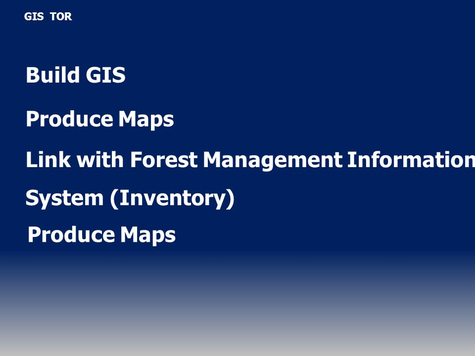GIS TOR Build GIS Produce Maps Link with Forest Management Information System (Inventory) Produce Maps