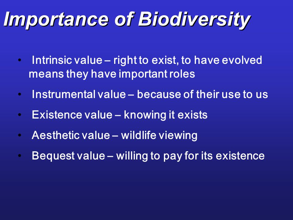 Importance of Biodiversity Intrinsic value – right to exist, to have evolved means they have important roles Instrumental value – because of their use to us Existence value – knowing it exists Aesthetic value – wildlife viewing Bequest value – willing to pay for its existence