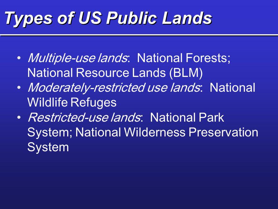 Types of US Public Lands Multiple-use lands: National Forests; National Resource Lands (BLM) Moderately-restricted use lands: National Wildlife Refuge