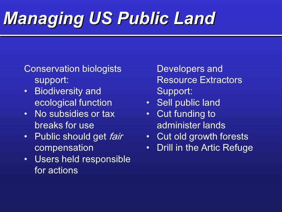 Managing US Public Land Conservation biologists support: Biodiversity and ecological function No subsidies or tax breaks for use Public should get fai