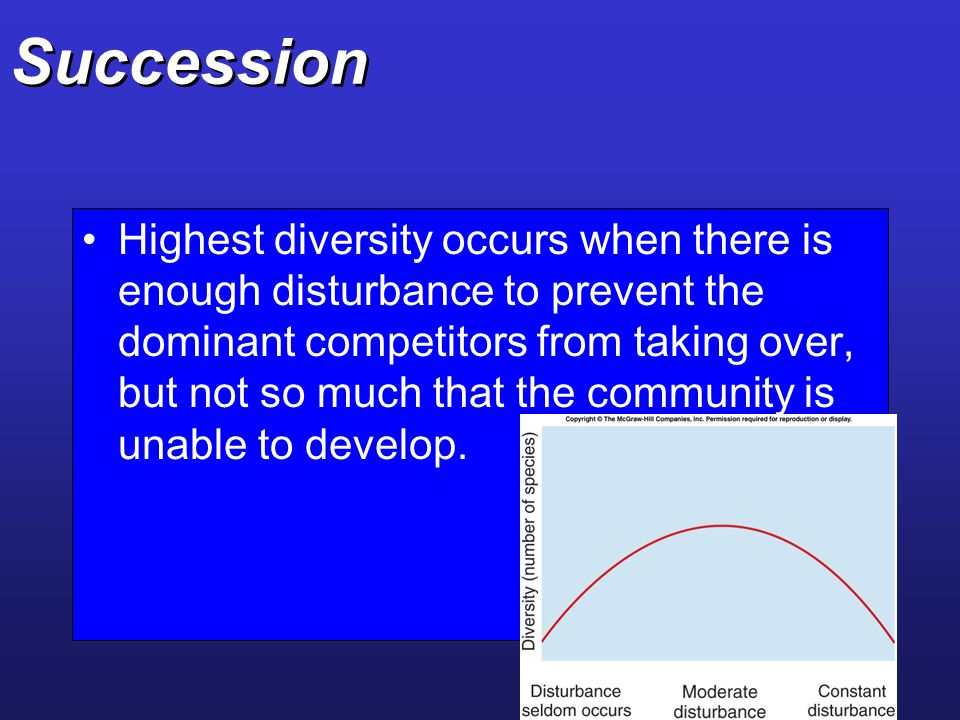 Succession Highest diversity occurs when there is enough disturbance to prevent the dominant competitors from taking over, but not so much that the co