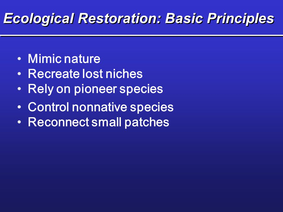 Ecological Restoration: Basic Principles Mimic nature Recreate lost niches Rely on pioneer species Control nonnative species Reconnect small patches