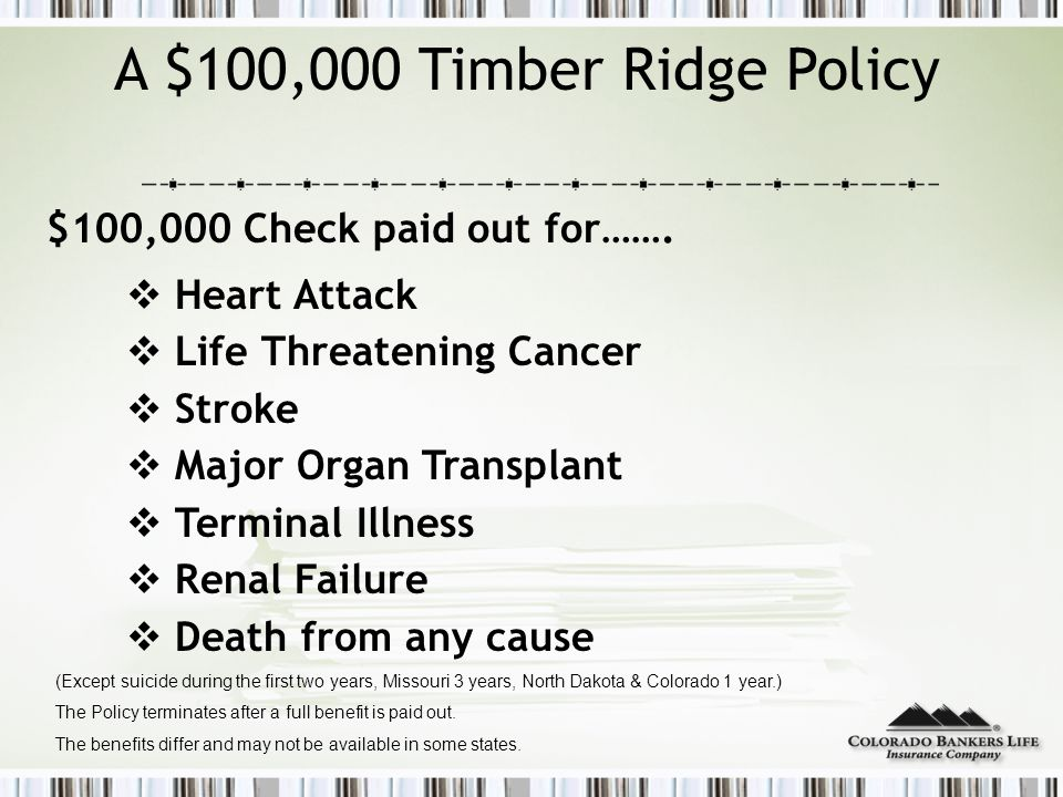 A $100,000 Timber Ridge Policy $100,000 Check paid out for…….