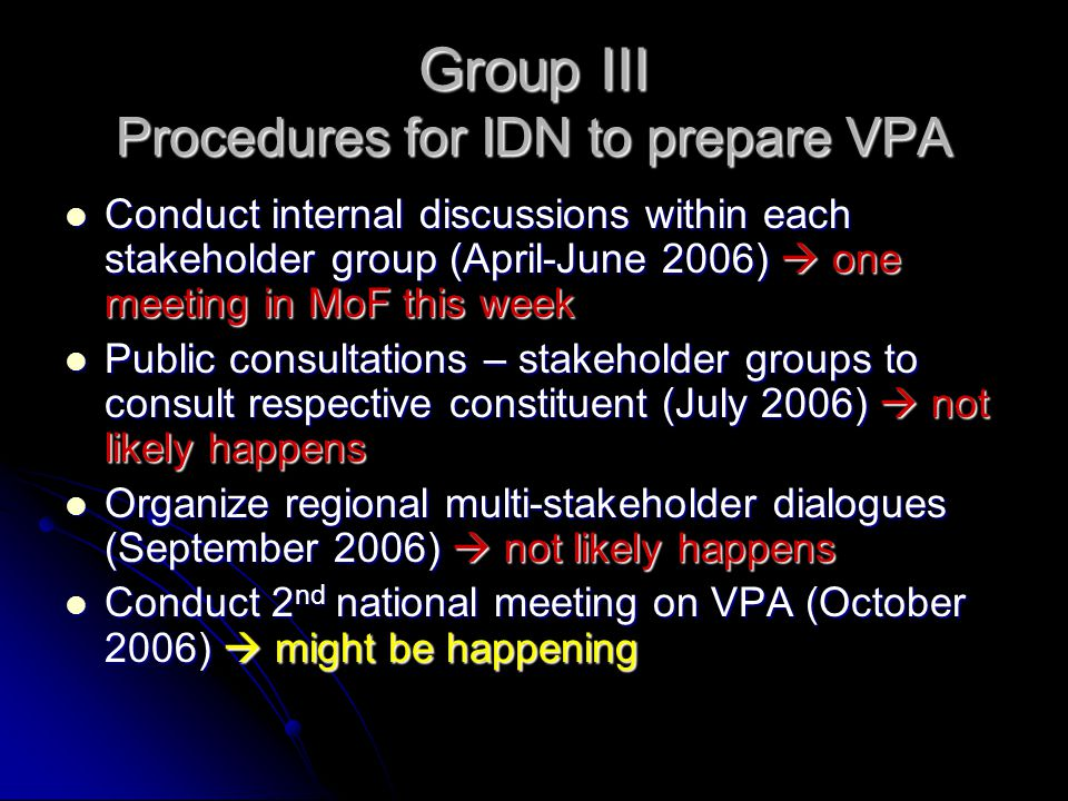 Group III Procedures for IDN to prepare VPA Conduct internal discussions within each stakeholder group (April-June 2006)  one meeting in MoF this wee