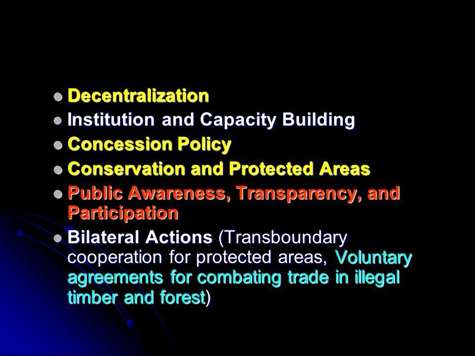 Decentralization Decentralization Institution and Capacity Building Institution and Capacity Building Concession Policy Concession Policy Conservation