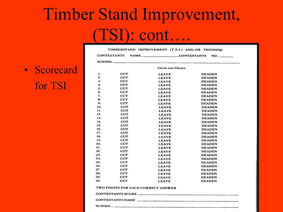 Timber Stand Improvement, (TSI): cont…. Scorecard for TSI