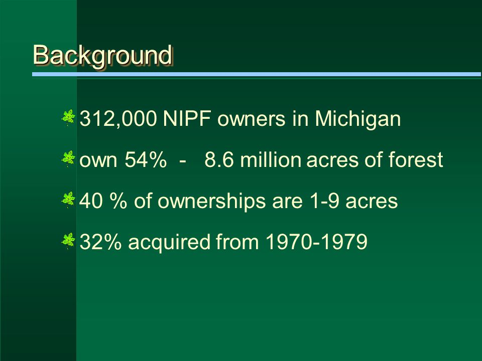 Private Forest Reserve Program a few farm woodlots 160 acres or less ½ in active agriculture up to 40 acres can be in PFR assessed at $1 per acre 5% yield tax