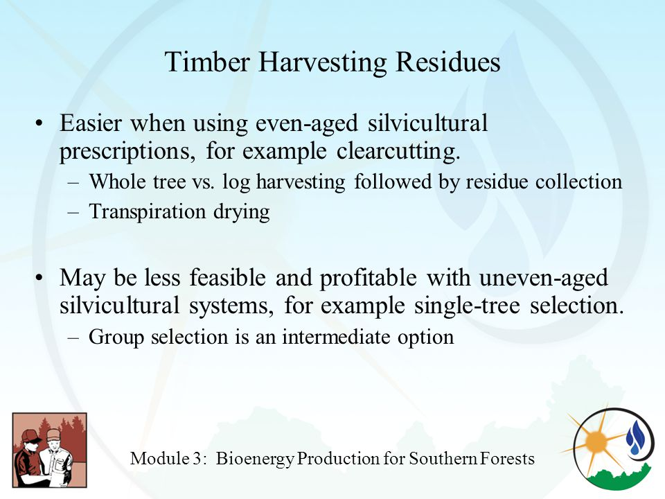 Timber Harvesting Residues Easier when using even-aged silvicultural prescriptions, for example clearcutting.