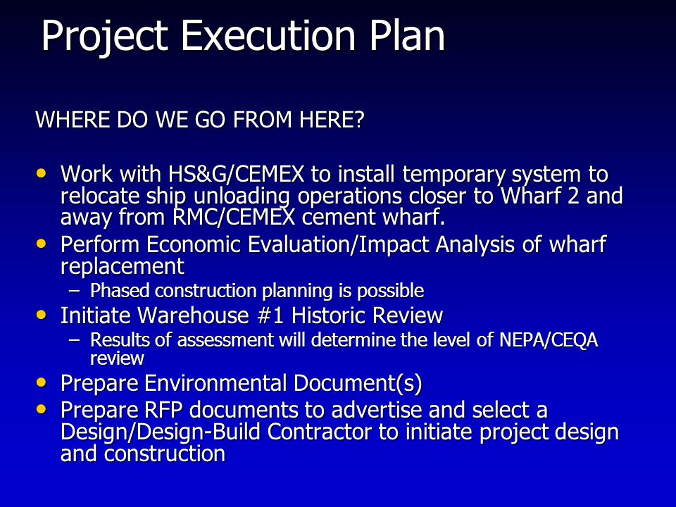 Project Execution Plan WHERE DO WE GO FROM HERE.